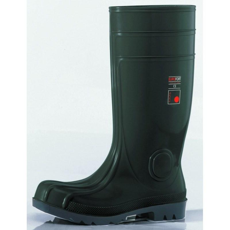 Acélbetétes munkavédelmi védőcsizma PVC csizma  fekete
