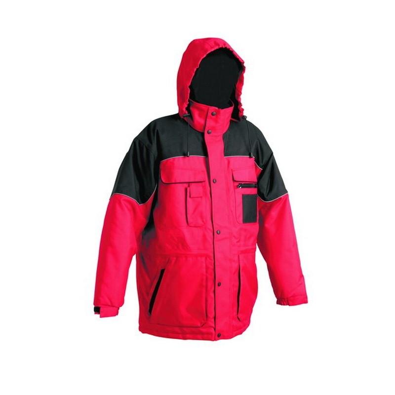 ULTIMO Meleg vízálló kabát, PE anyagból, kapucnis, bélelt piros