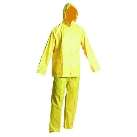 Vízálló esőruha öltöny pvc legolcsóbb, derekas nadrág + kabát  sárga