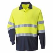 Lángálló, antisztatikus kéttónusú pólóing sárga / tengerészkék