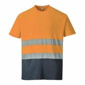 Hi-Vis kontraszt pólóing narancs / tengerész
