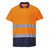 Kéttónusú pamut komfort póló narancs / tengerész
