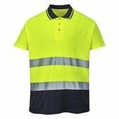 Kéttónusú pamut komfort póló  sárga/Kék