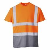 Kéttónusú pólóing narancs/szürke