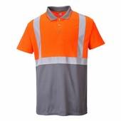 Jól láthatósági teniszpóló narancs/szürke