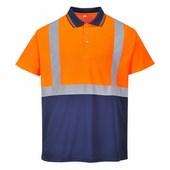 Jól láthatósági teniszpóló narancs / tengerész