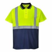 Jól láthatósági teniszpóló  sárga/Kék