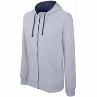 CONTRAST HOODED FULL ZIP SWEATSHIRT /xg/nv-s