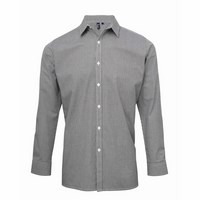FÉRFI MICROCHECK (GINGHAM) LONG SLEEVE COTTON SHIRT /Black/White