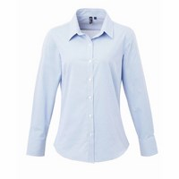 LADIES' MICROCHECK (GINGHAM) LONG SLEEVE COTTON SHIRT