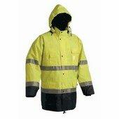 Jól láthatósági Kabát: MALABAR Bélelt vízálló kabát,fényvissz. sárga