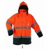 Jól láthatósági Kabát: MALABAR Bélelt vízálló kabát,fényvissz. narancs
