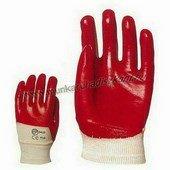 PVC light piros, szellőző hátú, gazdaságos védőkesztyű