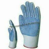 100% poliamid kesztyű mindkét oldalán kék pettyekkel, kopásálló