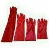 Piros PVC mártott kesztyű, 60cm hosszú Méret 10