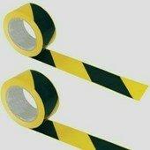 Közúti jelzőszalag, sárga-fekete, 200 m hosszú, 7 cm széles