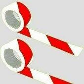 Öntapadós jelzőszalag, 5cm x 66m, piros-fehér