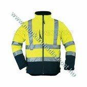 sárga kabát háromrétegű, lélegző, vízhatlan softshell anyagból