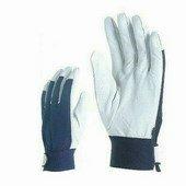 Színkecskebőr kesztyű, kék kézhát, elasztikus csuklórész tépőzár
