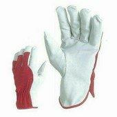 Színmarhabőr kesztyű, piros pamut kézhát csuklógumival