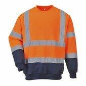 Kéttónusú jól láthatósági pulóver narancs / tengerész