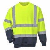 Kéttónusú jól láthatósági pulóver  sárga/Kék