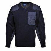 A NATO pulóver, 100% akril, pamut rátétek sötétkék