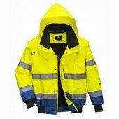 Jól láthatósági bomber dzseki sárga / royal kék