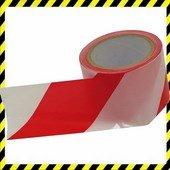 Jelölő szalag, piros-fehér; 75mm×100m, polietilén (kordonszalag)