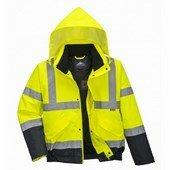 Hi-Vis kéttónusú bomber kabát  sárga/Kék