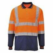 Kéttónusú hosszú ujjú póló narancs / tengerész