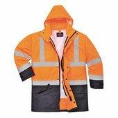 Jól láthatósági lélegző 5az1-ben kabát narancs / tengerész
