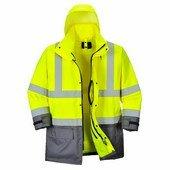 Jól láthatósági lélegző 5az1-ben kabát sárga / szürke