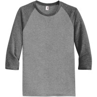 ADULT TRI-BLEND 3/4 UJJÚ RAGLAN TEE / Heather Grey - Heather Drak Grey