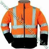 Softshell narancs/kék kabát - jólláthatósági kabát