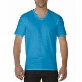 Gildan premium pamut férfi v-nyakú póló   / Zafír