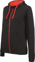 LADIES' CONTRAST HOODED FULL ZIP SWEATSHIRT /bl/re