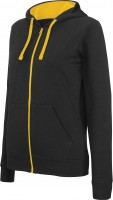 LADIES' CONTRAST HOODED FULL ZIP SWEATSHIRT /bl/ye