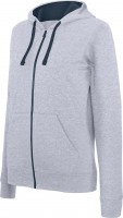 LADIES CONTRAST HOODED FULL ZIP SWEATSHIRT oxg/nv