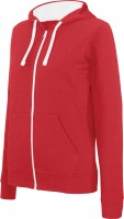 LADIES' CONTRAST HOODED FULL ZIP SWEATSHIRT /re/wh