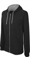 CONTRAST HOODED FULL ZIP SWEATSHIRT /bl/fg