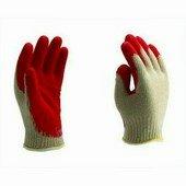 Kötött pamut kesztyű piros latex tenyérmártással Méret 10