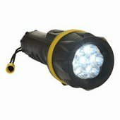 7 LED gumi zseblámpa fekete/sárga