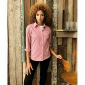 LADIES' MICROCHECK (GINGHAM) LONG SLEEVE COTTON SHIRT /re/wh