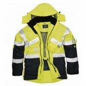 Jól láthatósági lélegző dzseki sárga / tengerészkék