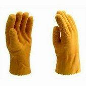 Sárga latex mártott kesztyű bolyhos béléssel Méret 10