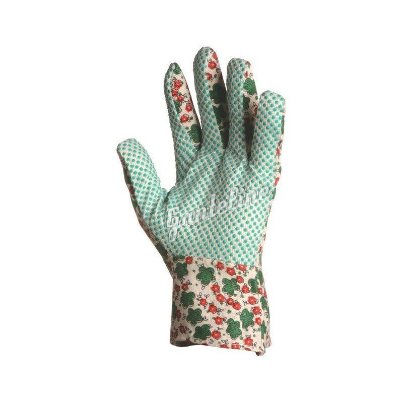 Virágmintás vászon kertészkesztyű pettyezett tenyérrel, női