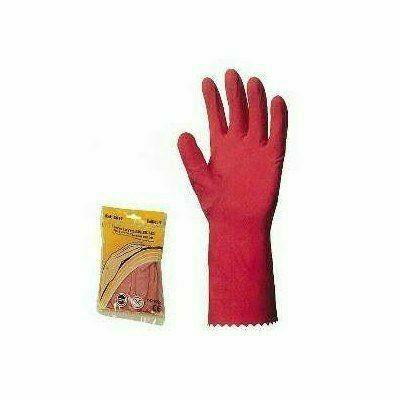 Háztartási gumikesztyű, rózsaszín, 0,4 mm vastag, pamutbolyhozot