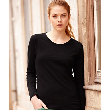 Fruit of the Loom Lady Fit Valueweight Long Sleeve T-hosszúujjú Fekete