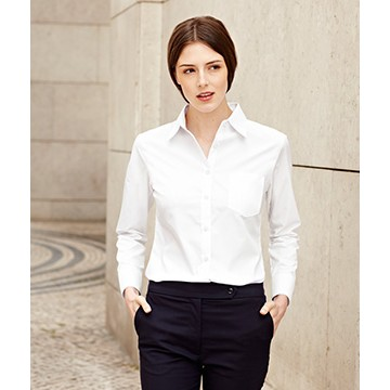 Fruit of the Loom Lady-Fit Long Sleeve Poplin Shirt hosszú ujjú